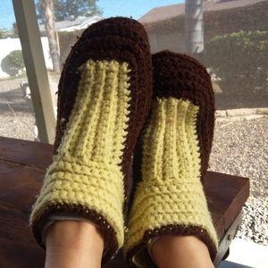 Handmade Knit Beige and Brown Slipper Socks